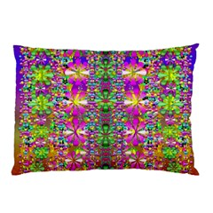 Flower Wall With Wonderful Colors And Bloom Pillow Case (two Sides) by pepitasart