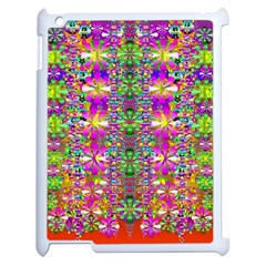 Flower Wall With Wonderful Colors And Bloom Apple Ipad 2 Case (white) by pepitasart