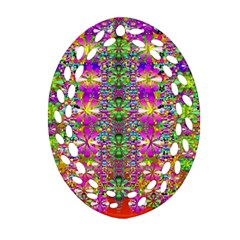 Flower Wall With Wonderful Colors And Bloom Ornament (oval Filigree) by pepitasart