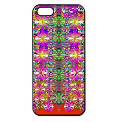 Flower Wall With Wonderful Colors And Bloom Apple Iphone 5 Seamless Case (black) by pepitasart