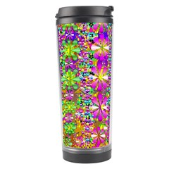 Flower Wall With Wonderful Colors And Bloom Travel Tumbler by pepitasart