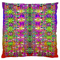 Flower Wall With Wonderful Colors And Bloom Large Flano Cushion Case (two Sides) by pepitasart
