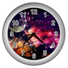 Letter From Outer Space Wall Clocks (silver)  by augustinet