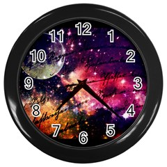 Letter From Outer Space Wall Clocks (black) by augustinet