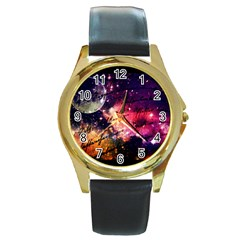 Letter From Outer Space Round Gold Metal Watch