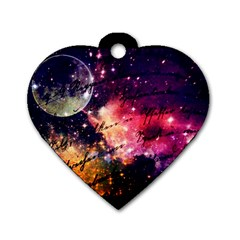 Letter From Outer Space Dog Tag Heart (one Side) by augustinet