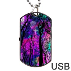 Magic Forest Dog Tag Usb Flash (one Side) by augustinet