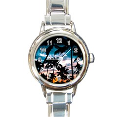 Palm Trees Summer Dream Round Italian Charm Watch by augustinet