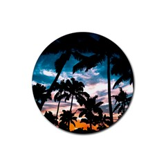 Palm Trees Summer Dream Rubber Coaster (round)  by augustinet