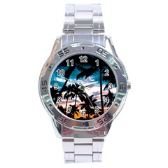 Palm Trees Summer Dream Stainless Steel Analogue Watch by augustinet