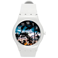 Palm Trees Summer Dream Round Plastic Sport Watch (m) by augustinet