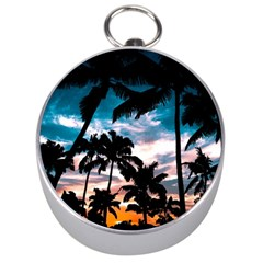 Palm Trees Summer Dream Silver Compasses by augustinet