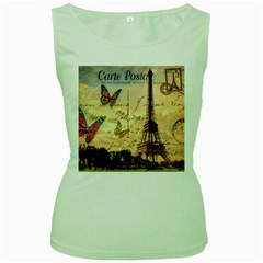 Vintage Paris Carte Postale Women s Green Tank Top by augustinet