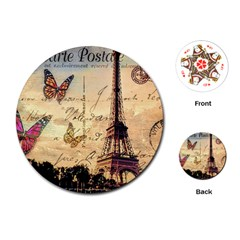 Vintage Paris Carte Postale Playing Cards (round)  by augustinet