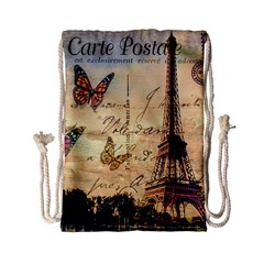 Vintage Paris Carte Postale Drawstring Bag (small) by augustinet