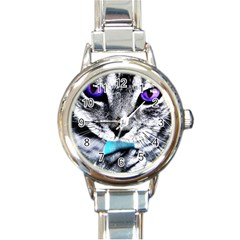 Purple Eyes Cat Round Italian Charm Watch by augustinet