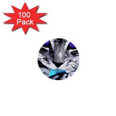 Purple Eyes Cat 1  Mini Buttons (100 Pack)  by augustinet