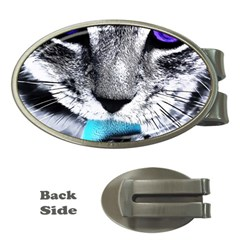 Purple Eyes Cat Money Clips (oval)  by augustinet