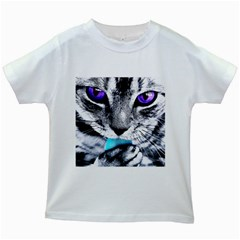 Purple Eyes Cat Kids White T Shirts by augustinet