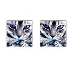 Purple Eyes Cat Cufflinks (square) by augustinet