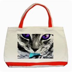 Purple Eyes Cat Classic Tote Bag (red) by augustinet