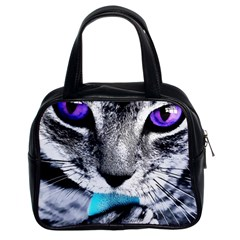 Purple Eyes Cat Classic Handbags (2 Sides) by augustinet