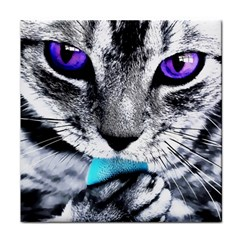 Purple Eyes Cat Face Towel by augustinet
