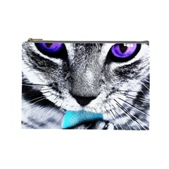 Purple Eyes Cat Cosmetic Bag (large)  by augustinet