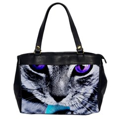 Purple Eyes Cat Office Handbags