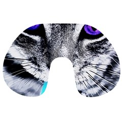 Purple Eyes Cat Travel Neck Pillows by augustinet