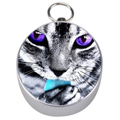Purple Eyes Cat Silver Compasses by augustinet
