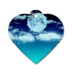 Dreamy Night Dog Tag Heart (one Side) by augustinet