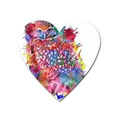 Rainbow Owl Heart Magnet by augustinet