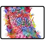 Rainbow owl Fleece Blanket (Large)  80 x60 Blanket Front