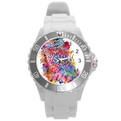 Rainbow Owl Round Plastic Sport Watch (l) by augustinet