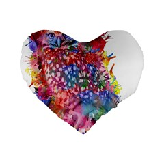 Rainbow Owl Standard 16  Premium Flano Heart Shape Cushions by augustinet
