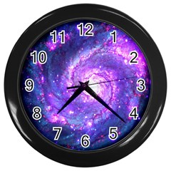 Ultra Violet Whirlpool Galaxy Wall Clocks (black) by augustinet