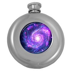 Ultra Violet Whirlpool Galaxy Round Hip Flask (5 Oz) by augustinet