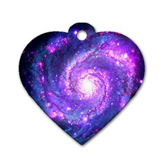 Ultra Violet Whirlpool Galaxy Dog Tag Heart (two Sides) by augustinet