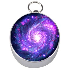 Ultra Violet Whirlpool Galaxy Silver Compasses by augustinet