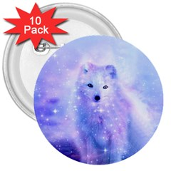 Arctic Iceland Fox 3  Buttons (10 Pack)  by augustinet