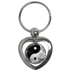 Grunge Yin Yang Key Chains (heart)  by Valentinaart