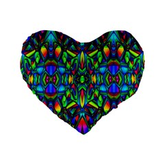Colorful 13 Standard 16  Premium Flano Heart Shape Cushions by ArtworkByPatrick