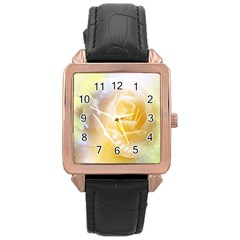 Beautiful Yellow Rose Rose Gold Leather Watch  by FantasyWorld7