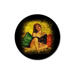 Pin Up Girl  Magnet 3  (round) by Valentinaart