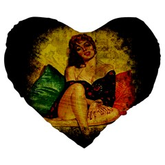 Pin Up Girl  Large 19  Premium Heart Shape Cushions