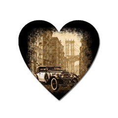 Vintage Old Car Heart Magnet by Valentinaart
