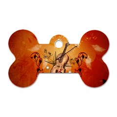 Violin With Violin Bow And Dove Dog Tag Bone (two Sides) by FantasyWorld7