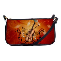 Violin With Violin Bow And Dove Shoulder Clutch Bags by FantasyWorld7
