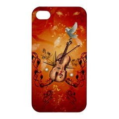 Violin With Violin Bow And Dove Apple Iphone 4/4s Hardshell Case by FantasyWorld7